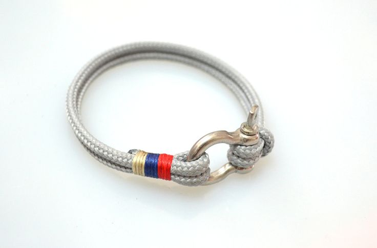 Nautical Sailing Bracelet Stainless steel Shackle-Paracord Bracelet-Mens Bracelet-Rope Bracelet-GREY 3. $15.00, via Etsy.