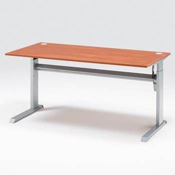 Höj- sänkbart skrivbord Flexus, rak skiva L 1200, Calvadoslaminat