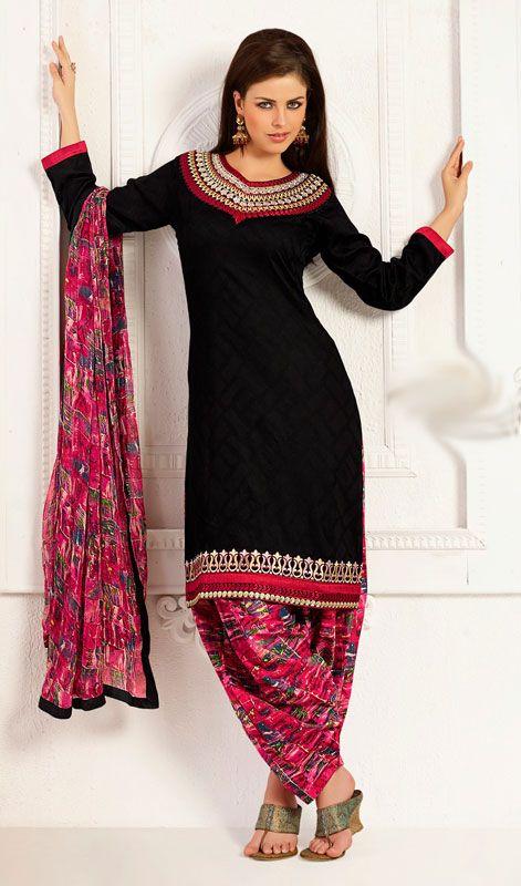 Black Cotton and Jacquard Salwar Kameez
