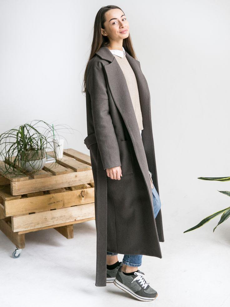 Зимнее длинное пальто oversize. шерсть, утеплитель, вискоза | «Ламбада-маркет»