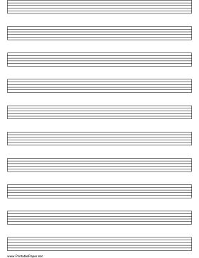 This letter-sized tablature (tab) paper for guitar has six lines. Free to download and print