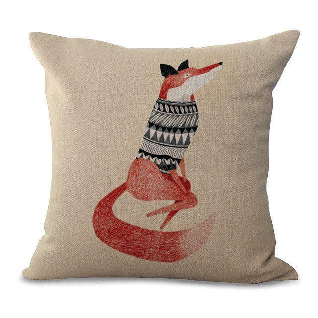 Cartoon Animal Cotton Embrace Pillow Case Fox Bay Window Bedroom Pillow Case Office Chair Cushion