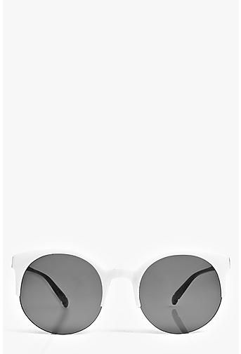 Lola Round Half Frame Round Sunglasses