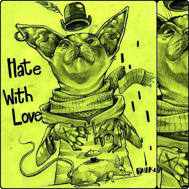 Hate with love?! Esse trabalho se tornou marcante e assustador pelo dia em que foi feito e principalmente pelo momento da conclusão.  #zeichnung #cat #mouse #life #drawing #hate #with #love #onelost #omik #projeção #astral #observar #reagir #intensificar #sentir #saber #adquirir #aprender #desenvolver #fazer #acontecer