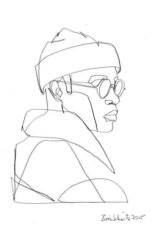 """Gaze 200"", one-continuous-line-drawing by Boris Schmitz, 2015:"