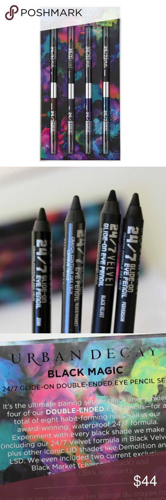 URBAN DECAY BLACK MAGIC EYE PENCIL MAKEUP SET NEW A limited-edition set of four double-ended eyeliners with a black color and a vivid shade in every pencil.  Every double-ended pencil in this set features a black shade on one end and a rich, colorful shade on the other. Line eyes with every black shade from Urban Decay--including 24/7 Velvet formula in Black Velvet--plus other iconic shades like Demolition and LSD. This set brings back two coveted, exclusive shades: Market (charcoal-black)…