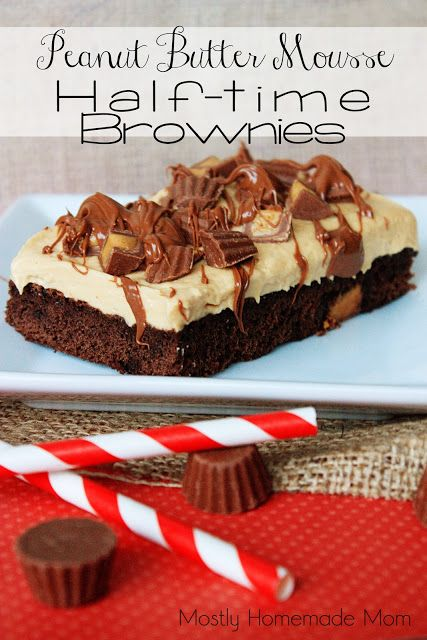 Mostly Homemade Mom: Peanut Butter Mousse Half-Time Brownies - Reese's Baking Bracket Challenge