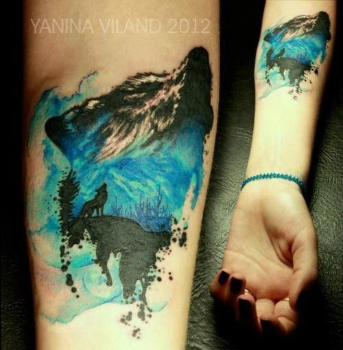 Womens Wolf Tattoo Thigh Tattoos Women Wolf Womens Thigh: Terrific Wolf Watercolor Tattoo On Thigh Leg For Woman