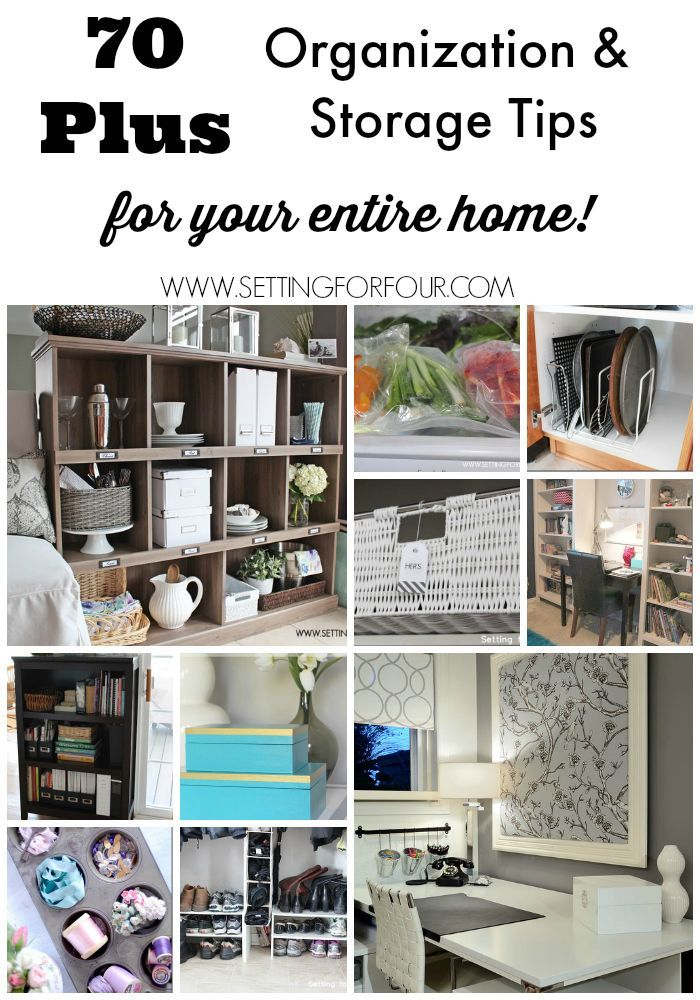 This is an amazing collection of tips! 70 Plus Organization and Storage Ideas to Declutter your home and life! www.settingforfour.com