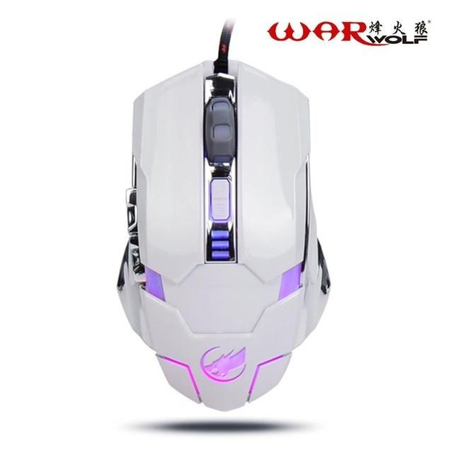 Warwolf 2.4GHz 3200DPI 6 Button Gaming Mouse with USB Receiver For PC Laptop Computer Gamer With Macro Programming Function