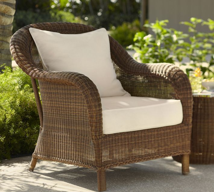Pottery barn honey wicker chair garden outdoor for Cane outdoor furniture