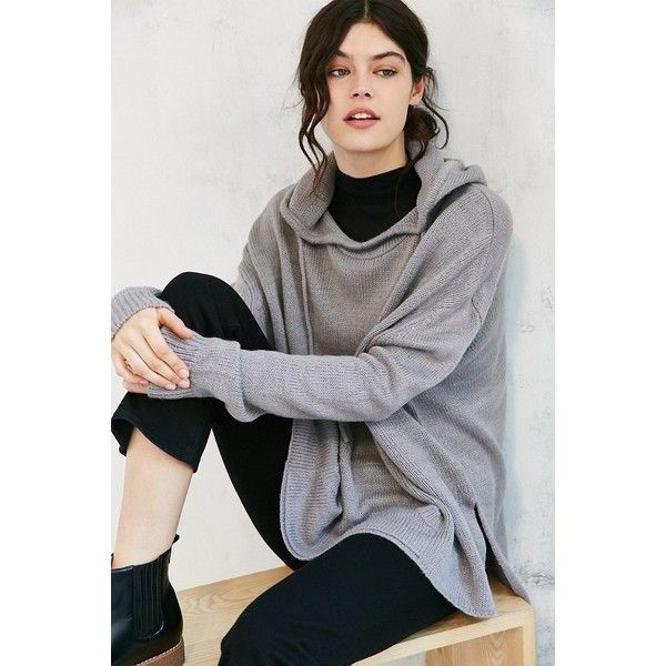 Ecote Boyfriend Hooded Sweater ($59) ❤ liked on Polyvore featuring tops, sweaters, grey, over sized sweaters, mock neck sweater, gray sweater, boyfriend sweater and bohemian tops
