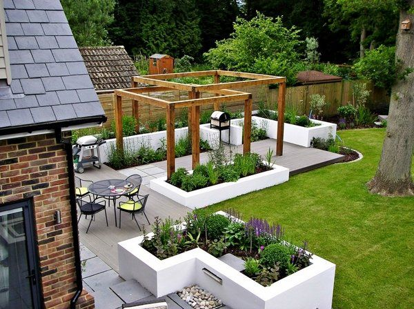 contemporary landscape ideas composite decking wood pergola planter boxes modern patio design
