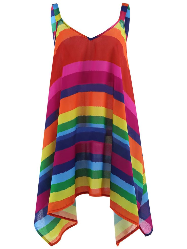 Plus Size Rainbow Stripe Spaghetti Strap Top, multicolorCOLOR, XL in Plus Size Blouses | DressLily.com