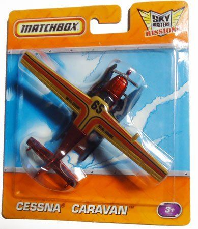 """2010-2011 Matchbox Sky Busters Missions CESSNA CARAVAN (red airplane) by Mattel. $11.71. about 4"""" long, and 4"""" wide. ages 3+. 1 of 36 in series.. die cast metal and plastic parts. Versatile and reliable, the Cessna Caravan was designed for water rescue missions in the deepest jungles. Have no fear-the Cessna Caravan is here!  Red with gold and black detail"""