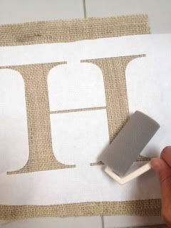 how to paint letters on burlap