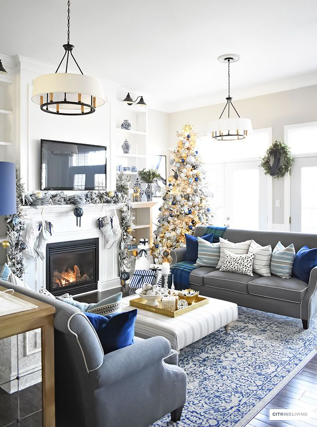 Christmas Home Tour Living Room With Blue White And Gold Blue And Gold Living Room Blue Living Room Silver Living Room
