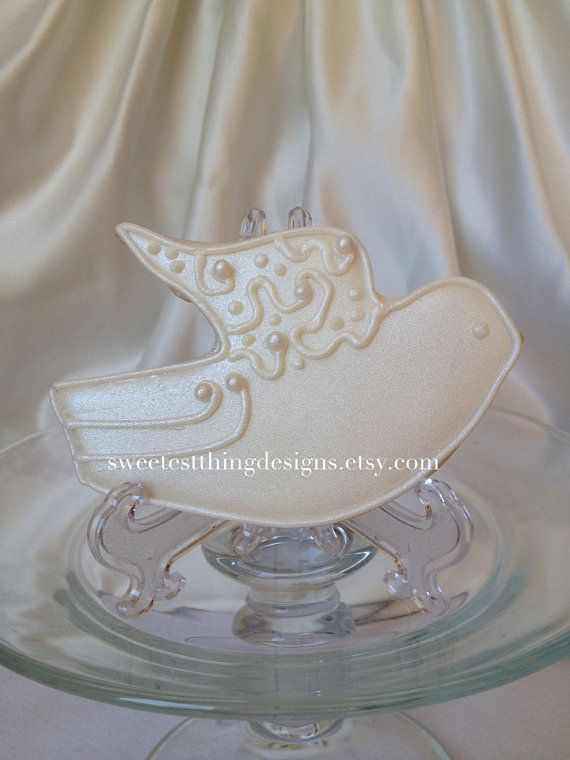Elegant Shimmery Dove Cookie Favor Baptism Wedding By The Sweetest