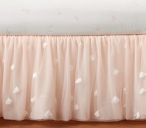 Monique Lhuillier Blush Pink Ethereal Bed Skirt | Pottery Barn Kids