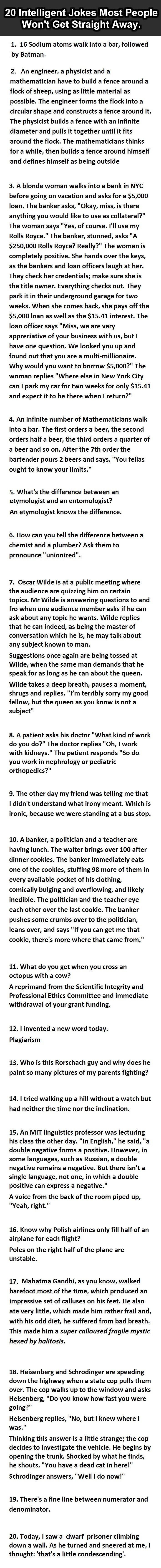 20 Intelligent Jokes Most People Won't Get Straight Away.
