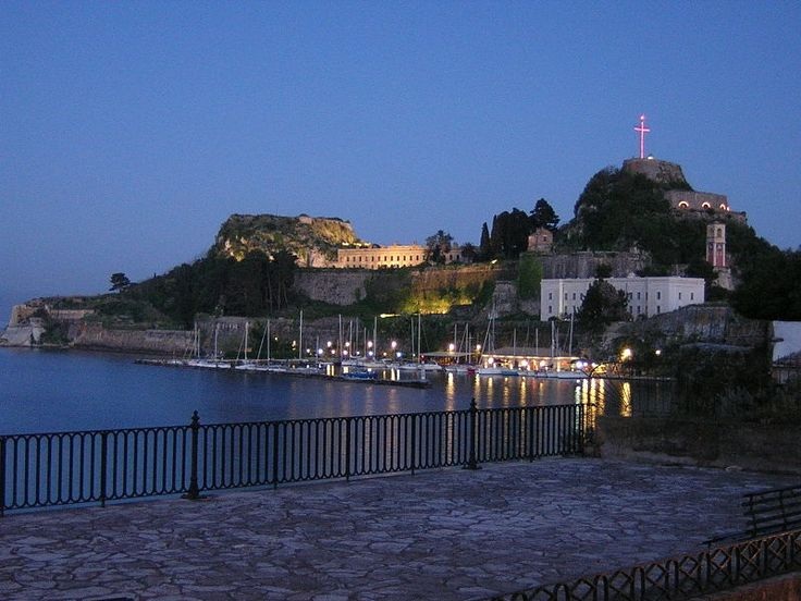 The old citadel of Corfu city located at its edge, Corfu Island