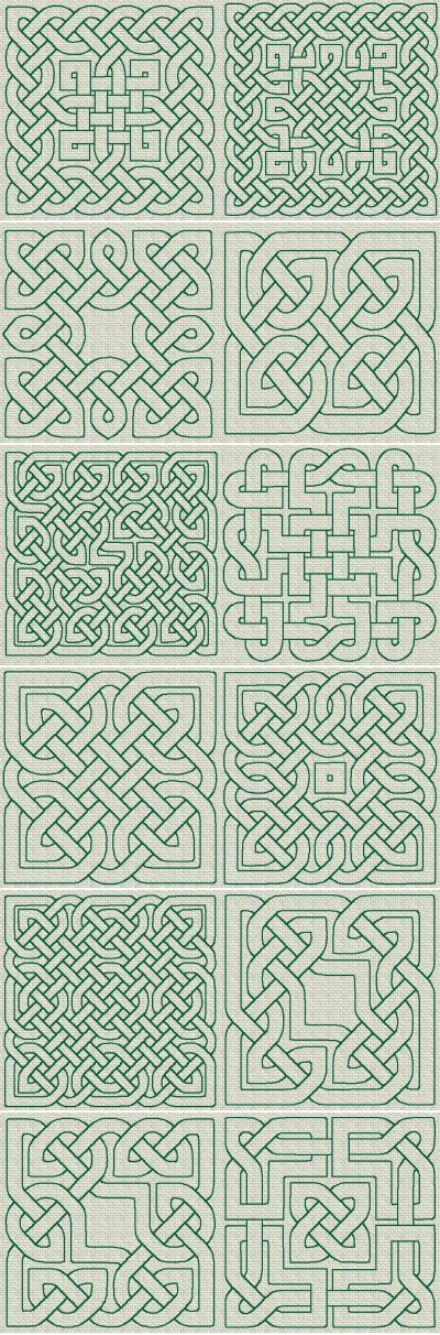 Celtic Knotwork inspiration:  Celtic Knotwork RW Series 02.  In no way do you have to use any of these, though if you find one that inspires you....go for it!