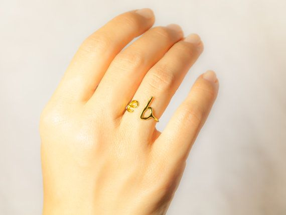Gold Initial Ring - Two Initial Ring - Dainty Gold Ring - Gold Letter Ring -Custom Initial Ring- Personalized Bridesmaid Gift