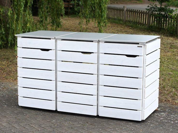 3er Mülltonnenbox Holz / Edelstahl - Deckel, für 120 L & 240 L Mülltonnen, Farbe: Deckend Weiß