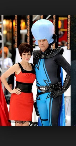 halloween costumes celebrity couples tina fey and will ferrell as the characters they voiced over megamind and roxy - Hollywood Couples Halloween Costumes