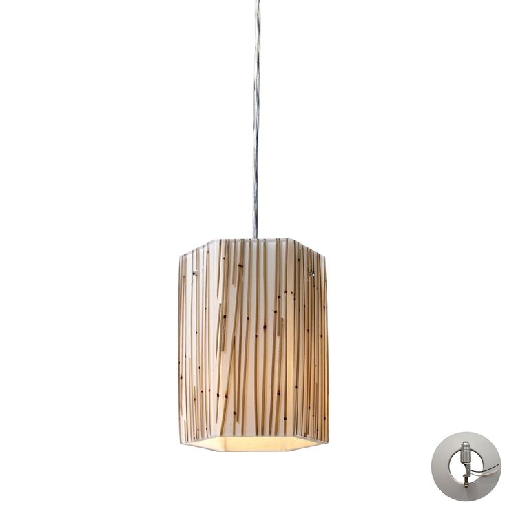 Modern Organics 1 Light Pendant In Polished Chrome And Bamboo Stem - Includes Recessed Lighting Kit