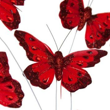 123 best uk wedding decorations images on pinterest birthdays christmas red feather butterfly on wire pack of 6 fizzco amazon junglespirit Gallery