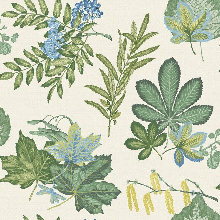 Leaves Mulberry Cream Blue Wallpaper 98482