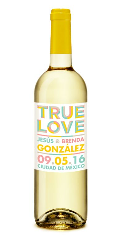 True Love  Vino Blanco Personalizado para #Boda