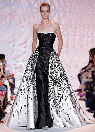 ZUHAIR MURAD Haute Couture 2015 | Strapless ball gown with dark night Mikado with white moon embroidery train overlay