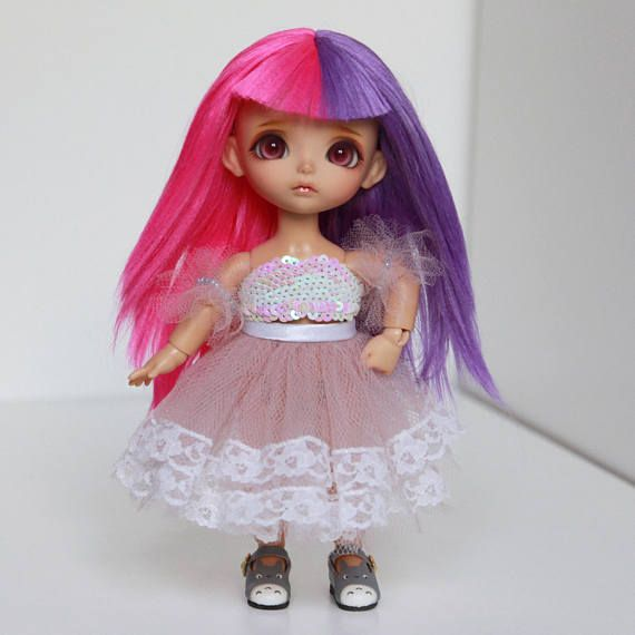 Lati yellow 5-6 wig two color pink purple violet