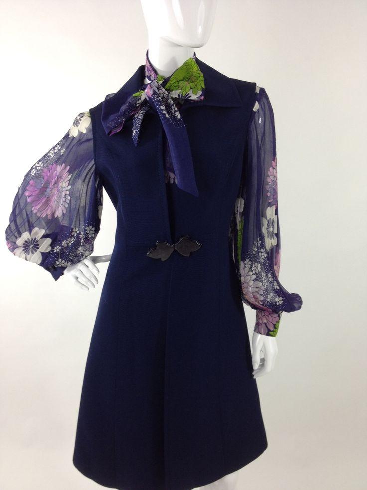 completo vintage '70 abito&spolverino Vintage 70s set: dress&coatdress