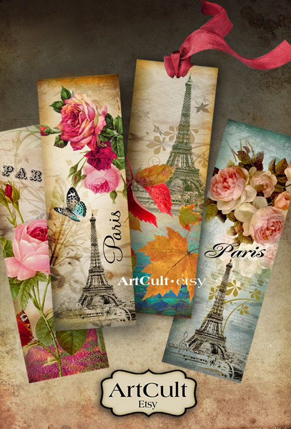 PARIS BOOKMARKS - Digital Collage Sheet Printable Download Ephemera Vintage Paper Craft Images ArtCult downloadable graphics