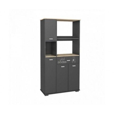 Mueble microondas con 4 puertas y 1 cajón. Color gris antracita. Estantes en color aserrado.
