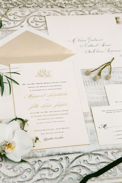 classic monogram wedding invitation | GK Photography