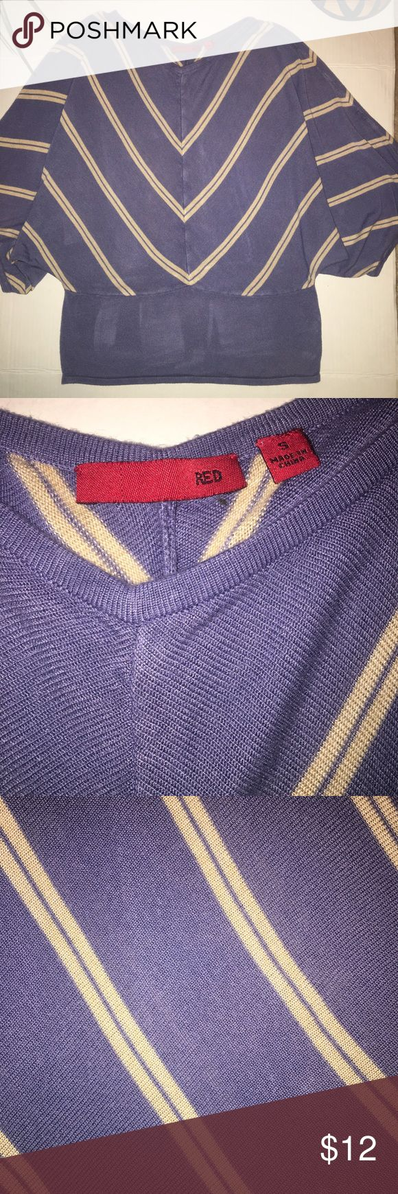 """Red Women's Striped Batwing Dolman Sleeve Top, S Brand: Red Style: Batwing Condition: Good Used Condition; No rips, tears, stains, or holes. Please review photos and measurements for best judgment on the condition of this item. Size: Small (2/4) Approximate Measurements: Chest (armpit-to-armpit)- 17""""(Total- 34""""); Length (collar seam-to-end)- 19.5""""; Sleeves- 8"""" (Batwing; short sleeve) Color: Periwinkle Blue with Beige Stripes Materials: 100% VIscose Made in China RED Tops Blouses"""