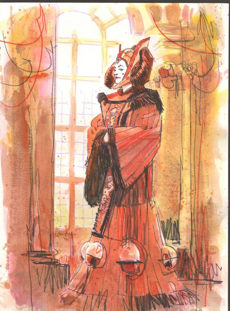 tommy lee edwards princess amidala in ted lantings princess amidala comic art gallery room star wars