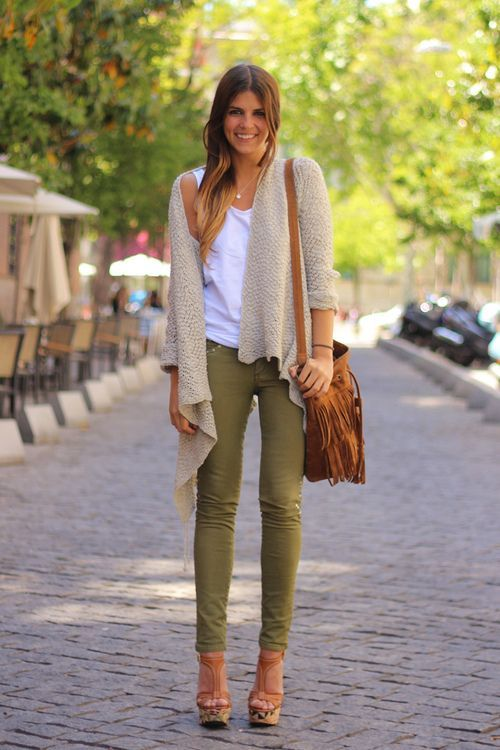 olive pants, cream cardigan. - 189 Best Cloths/outfit Ideas Images On Pinterest