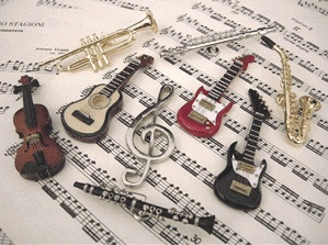 MINIATURE MUSICAL INSTRUMENT FRIDGE MAGNETS