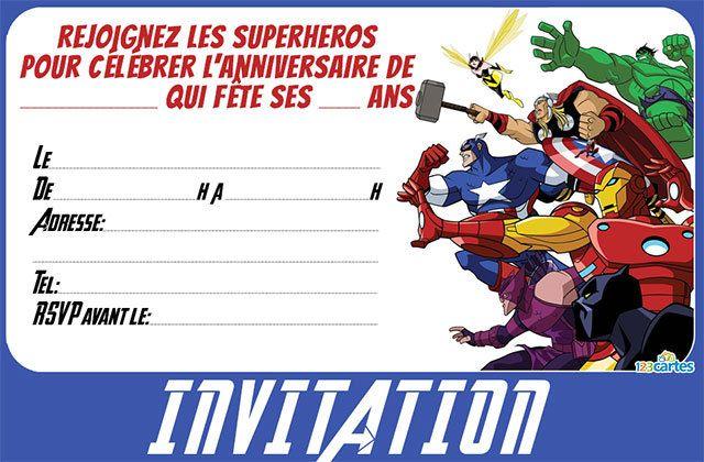 Invitation anniversaire Avengers gratuite à imprimer avec les personnages de iron man, Bruce banner, la guêpe, Captain America, Thor et Oeil-de-faucon. Dis