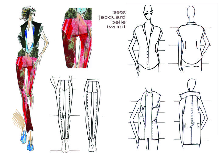 Technical  design Waistcoat, top, trousers