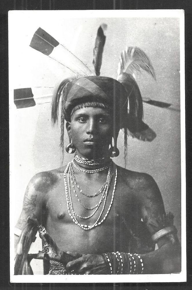 Dayak Warrior rppc Tattoo Sarawak Borneo Malaysia 30s