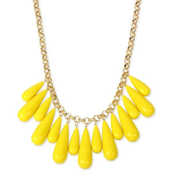 M. Haskell for Inc Gold-Tone Multi-Stone Statement Necklace, ($30) ❤ liked on Polyvore featuring jewelry, necklaces, yellow, multi stone necklace, mixed-metal jewelry, mixed metal necklace, goldtone jewelry and yellow necklace