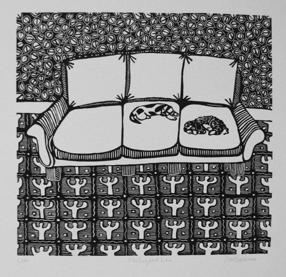 Mickey and Lou is a 16 X 17 hand pulled linocut printed with oil based black ink onto a 22 X 24 sheet of Arches 88 cotton printmaking paper. It is one of 14 linoleum prints I created for a solo show; Dogs on Sofas I decided to create a theme for myself in order to have an excuse to draw and carve and then print some images that brought me great joy! I was a seamstress for 25 years and made many a slipcover for many a sofa in many different spaces. 3 years ago I adopted a dog for the first tim...