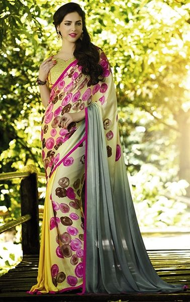 Picture of Artistic Yellow Georgette Printed Saree
