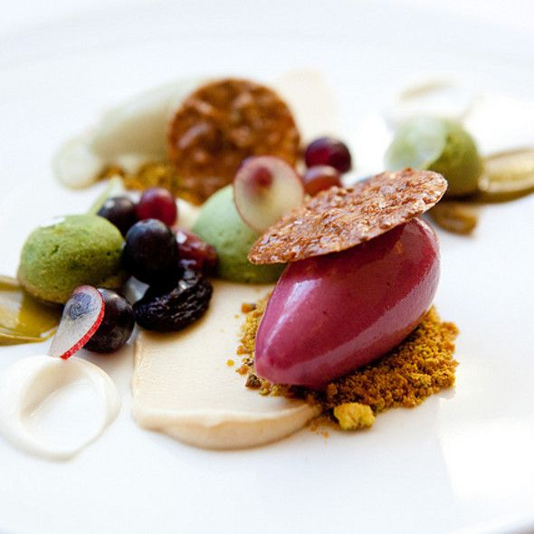 Pistachio cakes with grapes, almonds, and candied pistachios, pistachio ice cream and grape sorbet @ Eleven Madison Park Restaurant